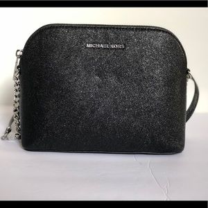 Micheal Kors large Dome Black Leather Crossbody